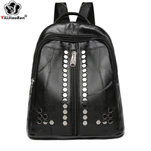 Fashion Sheepskin Backpack Female Genuine Leather Backpack Women 2019 Travel Bag School Backpacks for Teenage Girls Sac A Dos smiley sunshine black leather women backpack female fashion drawstring school bag backpack for teenage girls bagpack sac a dos