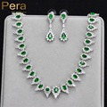 High Quality White Gold Plated Negerian Women Evening Party Jewelry Sets With Full Marquise Shape Big Green Cubic Zirconia J169