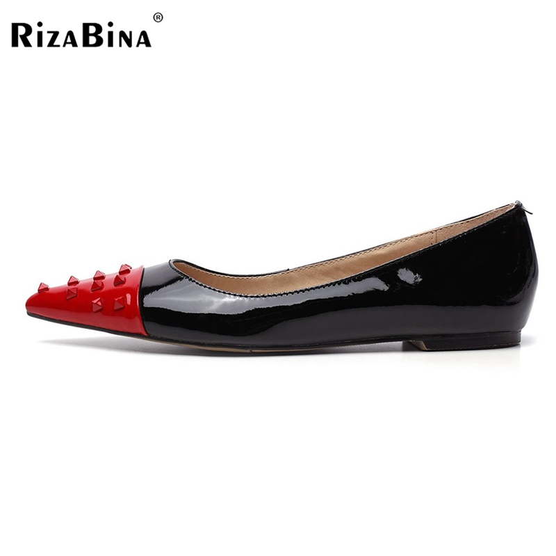 Women Pointed Toe Flat Shoes Woman Fashion Mixed Color Rivets Shoes Ladies Sexy High Quality Flats Size 35-46 B290 fashion women shoes woman flats high quality comfortable pointed toe rubber women sweet flats hot sale shoes size 35 40