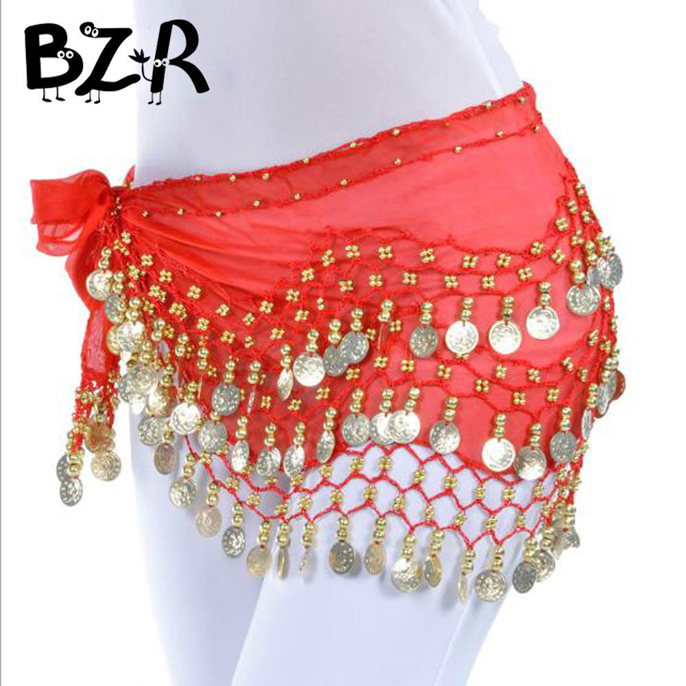 Bazzery New Fashion Women Adult Girls Chiffon Belly Dance India Dance Hip Scarf 3 Rows Coin Bellydance Belt Skirt