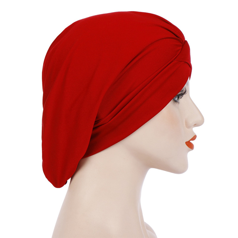 Multicolor Forehead Cross Crinkle Hijab Indian Hat Cotton Elastic Muslim Women Turban Bonnet Soft Wrap Inner Headscarf Caps in Islamic Clothing from Novelty Special Use