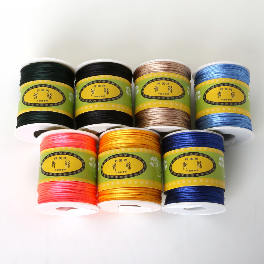 HOT Sale 70M/roll 1.5mm Nylon Cord Satin Braided String Mixed 21 Colors Jewelry Findings Beading Cord Rope Thread(China)
