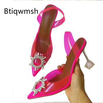 2019 Rhinestone Pink Transparent Sandals Women Pointed Toe Crystal Sun Flower Strange High Heels Shoes Woman Fashion Party Shoes