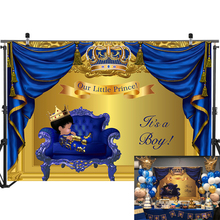 Royal Baby Shower Backdrop Little Prince Boy Photography Background Blue Gold Curtain Party Banner Decoration