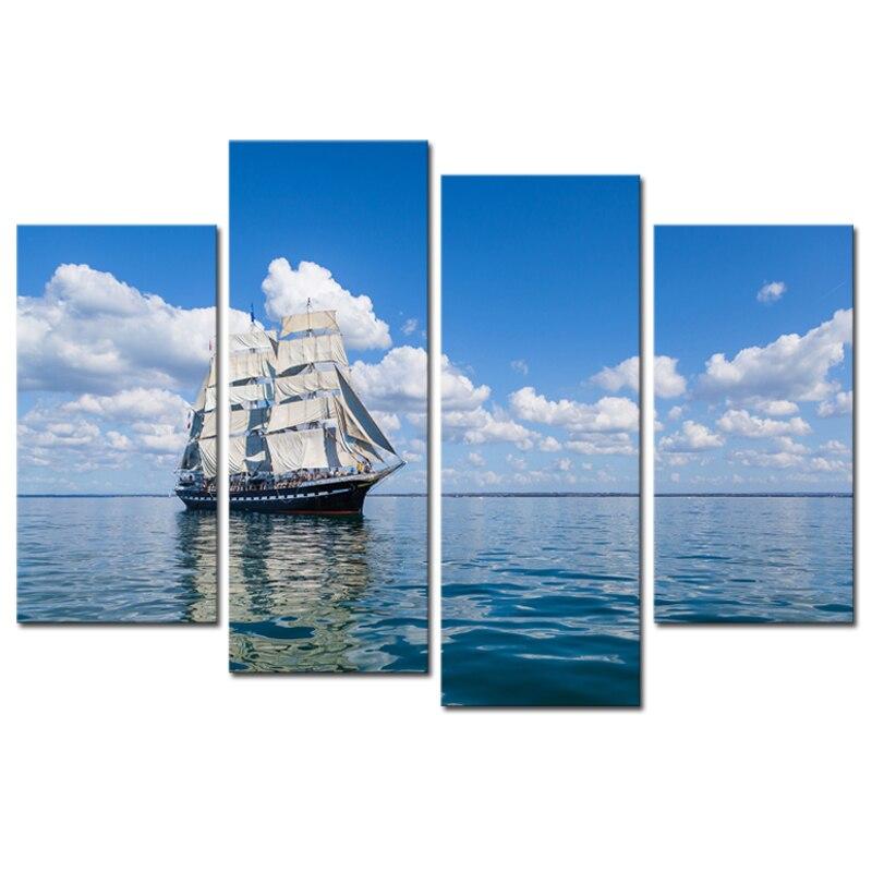 4 panel Seaview Zeilen Witte Wolk Blauwe Hemel Grote HD Foto Modern Huis Muur Decor Canvas Olieverf-in Schilderij & Schoonschrift van Huis & Tuin op  Groep 1