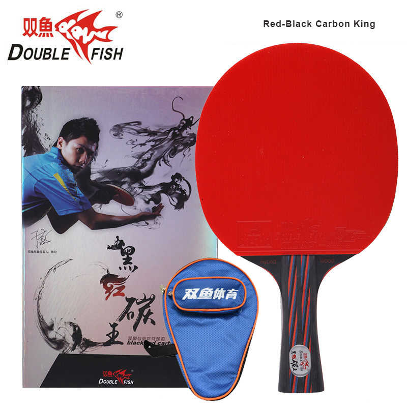 Original Double Fish Red-Black Carbon fiber Table Tennis Racket FL Handle Pingpong Paddle ITTF Approved Rubber with Cover Bag
