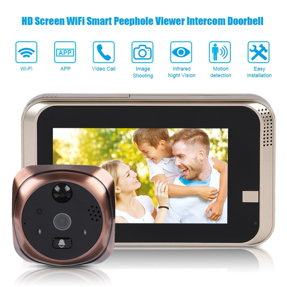 Doorbell Intercom Peephole Smart Viewer Wifi Home 720P Screen HD Visible title=