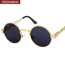 Peekaboo vintage retro gothic steampunk mirror sunglasses gold and black sun glasses vintage round circle men UV gafas de sol(China)