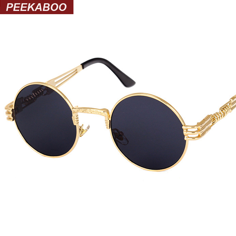 Peekaboo vintage retro gothic steampunk mirror sunglasses gold and black sun glasses vintage round circle men UV gafas de sol