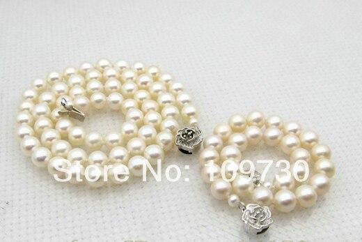 A0503 Bijoux 00668 7mm Blanc Perle Ensemble de Bijoux Collier 18