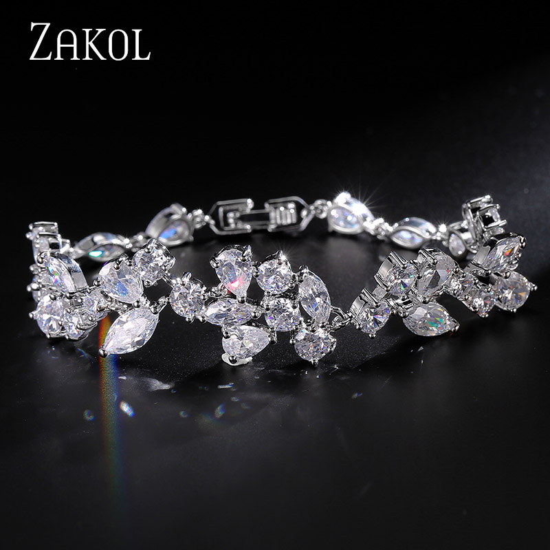 ZAKOL 3 Color Sliver Color Design Cubic Zirconia Flower Chain Armbånd Bangle For Women Fashion Leaf Bryllup Smykker FSBP014
