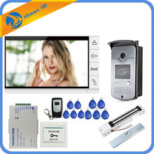 "Wired 9"" Video Door Phone Video Intercom Doorbell System 1 Monitor 1 RFID Camera + Electric Magnetic Lock Remote unlock"
