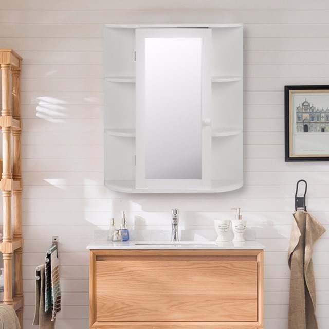 Goplus Wooden Bathroom Cabinet with Mirror White Storage Wall ...