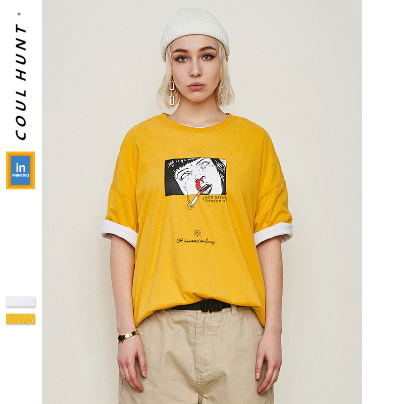 2019 SS Skateboard Summer Funny Cartoon Printed T Shirt  Hip hop Streetwear Funny People Smoking Pattern Oversize Tee Shirt
