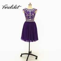 purple Short Prom Dresses 2017 bridesmaid dresses Beading Handwork formal party dresses With Stones imported party dresses cheap