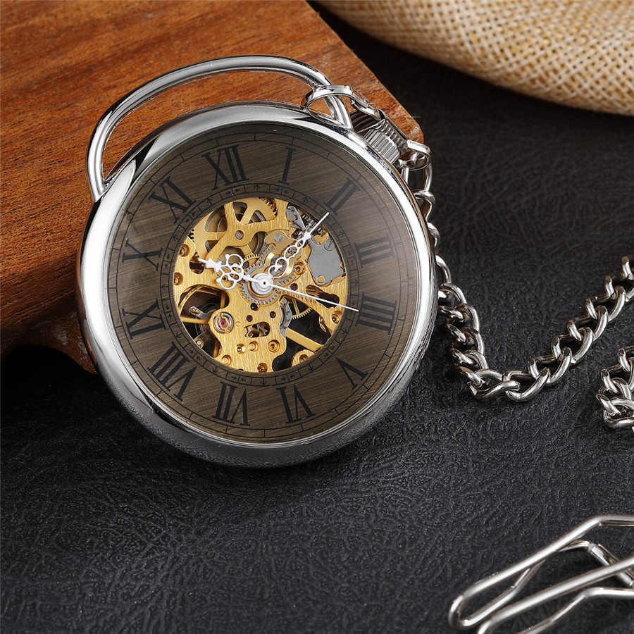 Unique Desgin Big Bronze Roman Skeleton Steampunk Mechanical Pocket Watch Witch Fob Chain  Men And Women Silver Gift