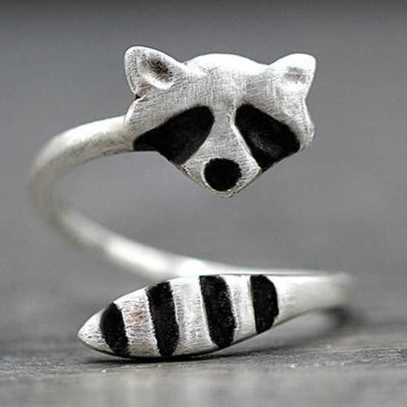 Fashion Kreatif Perak Warna Raccoon Wanita Cincin Hewan Lucu Pembukaan Cincin untuk Wanita Pesta Adjustable Perhiasan Grosir Anillos