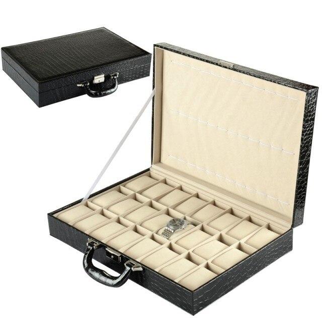24 fentes montre boîte de rangement cuir synthétique polyuréthane noir montre pour hommes montres nouvelle montre affichage cadeau valise