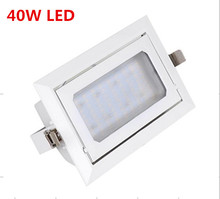 Free shiping 8PCS 40W LED Downlight ,Rectangle,AC85~265,AL+PMMA, White Paint SMD5730,LED recessed downlight