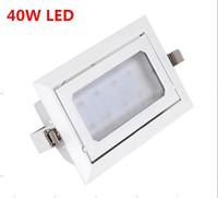 DHL 8PCS 40W LED Downlight ,Rectangle,AC85~265,AL+PMMA, White Paint SMD5730,LED recessed downlight