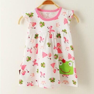 Baby girl fashion dress print kids summer dresses girls Brand princess baby dress Cartoon frog character short sleeve dress