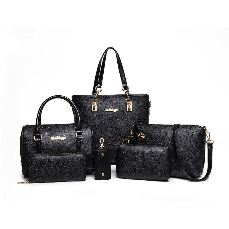 2018 European and American famous designer handbags 6pcs set rose printting composite bag Shoulder Messenger Bag