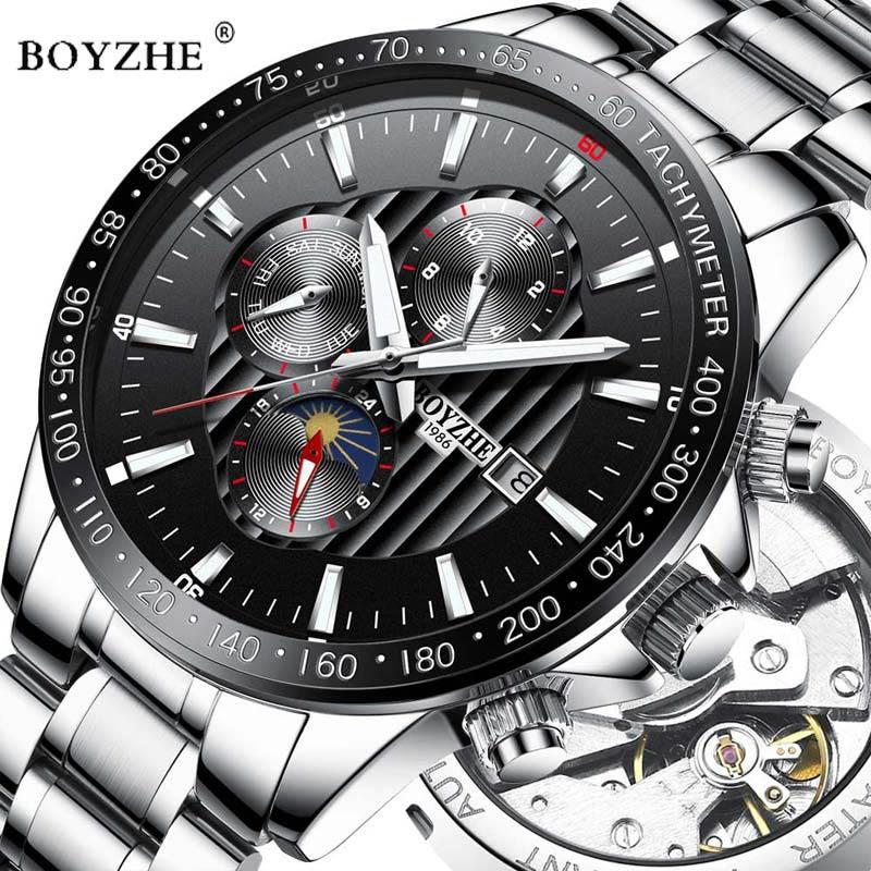 Permalink to Watches Men Automatic Mechanical Watch Mens Fashion Luminous Stainless Steel Business Waterproof Watch BOYZHE Relogio Masculino
