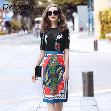 Delocah Summer Fashion Designer Suit Set Womens Short Sleeve Angel Embroidery T-shirt + Poker Printed Skirts Two Pieces
