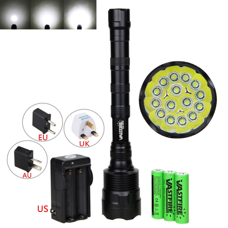 Military 50000Lm 15x XM-L T6 LED Tactical Flashlight Torch Lamp Hunting Hiking Camping 5Mode Light with 18650+Charger 3800 lumens cree xm l t6 5 modes led tactical flashlight torch waterproof lamp torch hunting flash light lantern for camping z93