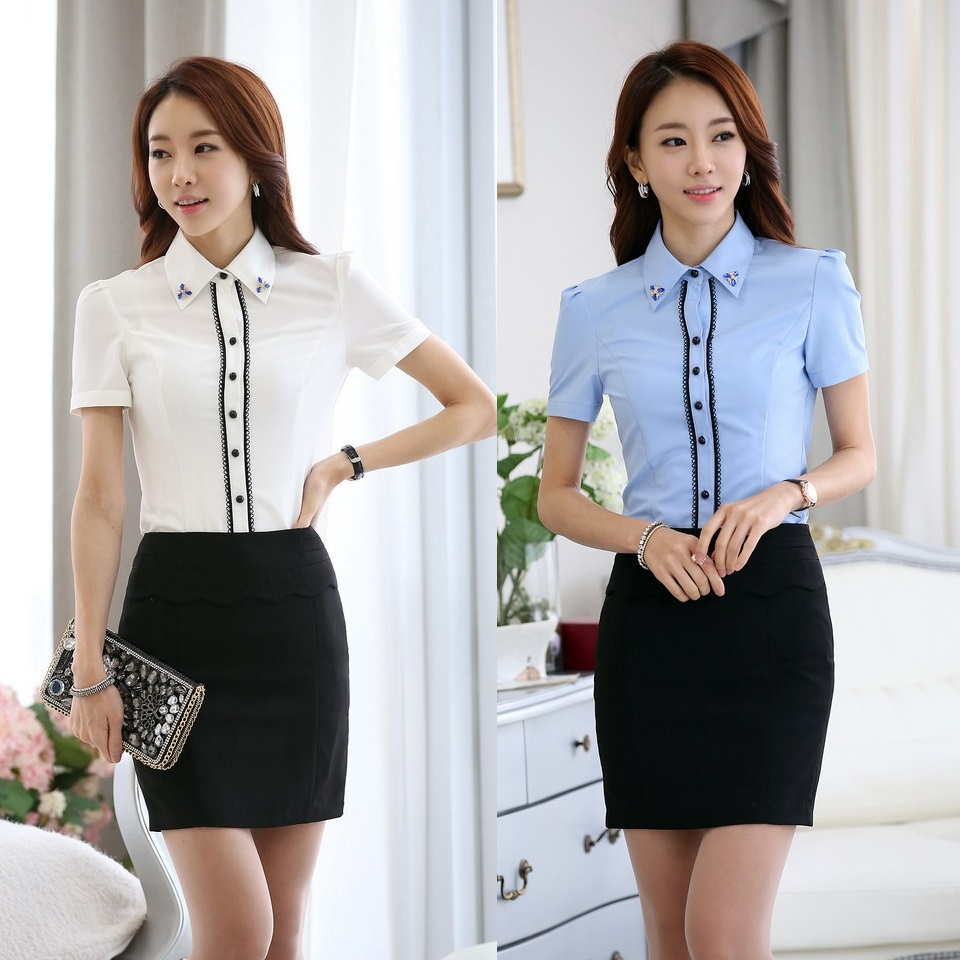 Summer Formal Women Work Suits with Two Piece Skirt and ...