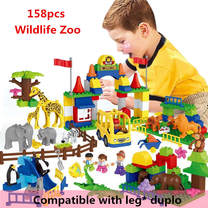 HM071 158pcs large particles Building Blocks Wildlife Zoo without box Compatible With Legoe Duploo Toys toys for children without original box bang bao fight inserted building blocks toys concrete mixing small particles base 8531 808pcs abs plastic