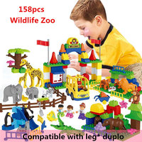 HM071 158pcs large particles Building Blocks Wildlife Zoo without box Compatible With Legoe Duploo Toys toys for children