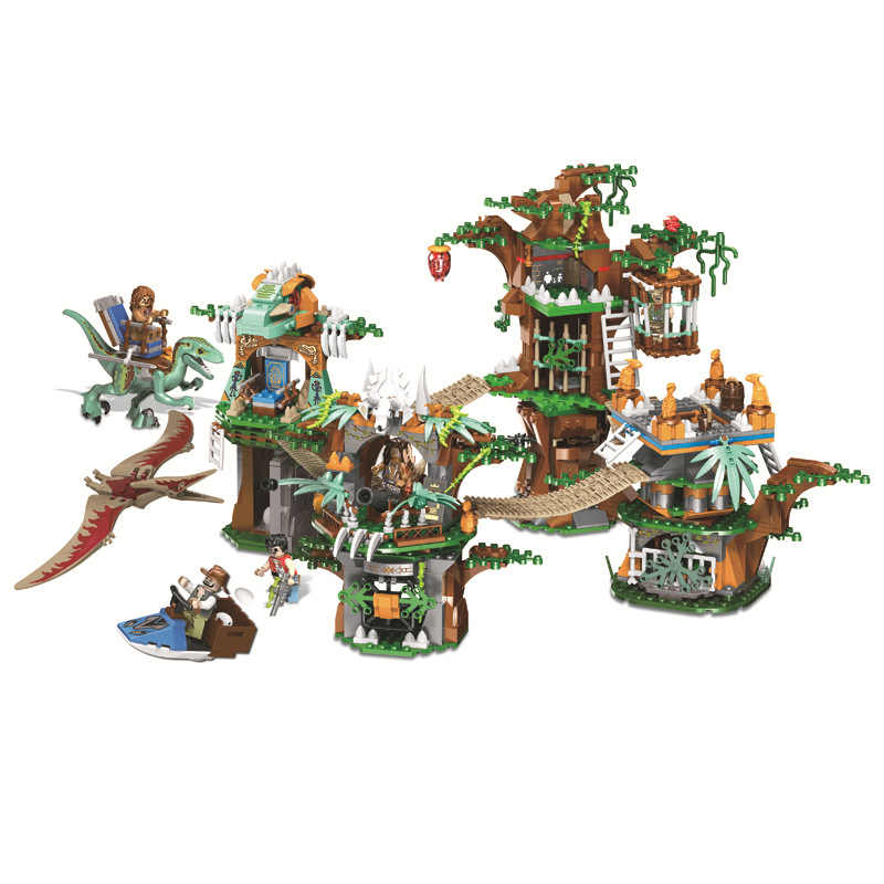 1000pcs Dinosaur world Children's educational building blocks toy Compatible  jurassic world city Dinosaur tribe gifts