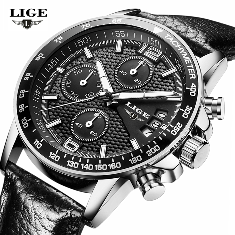 LIGE Waterproof Casual Sport Watch Men Military Quartz Watch Mens Watches Top Brand Luxury Date Leather Clock Relogio Masculino relogio masculino high quality waterproof watches men guanqin top brand luxury watch fashion casual clock military quartz watch