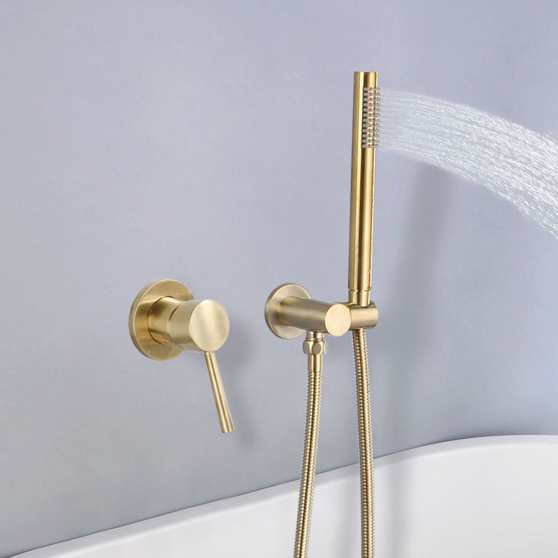 Brushed Golden Brass Bathroom Shower Set Wall Mounted Cold And Hot Water Mixer Faucet With Handheld
