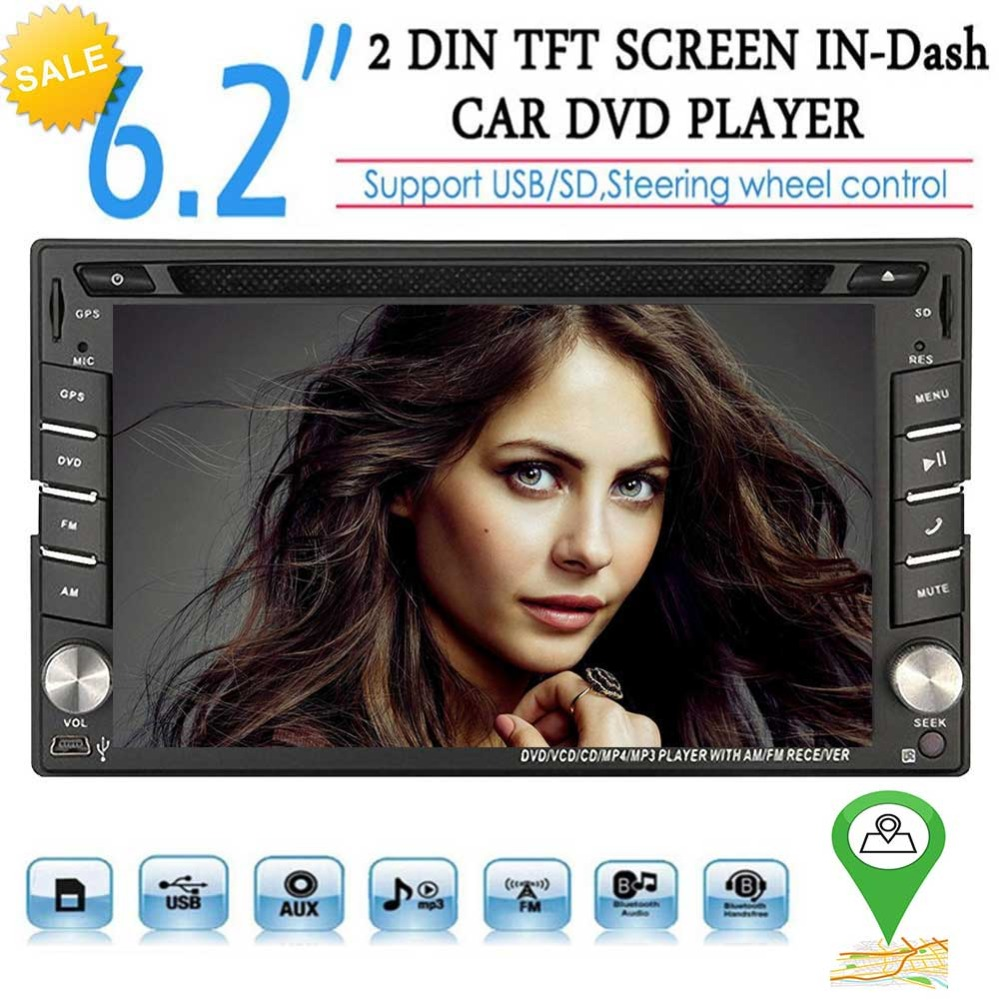 Double 2 Din Car Stereo DVD Player GPS Navigation Radio Bluetooth 2 Din Capacitive Touch Screen support USD SD mp5 SWC Car Logo 2 din
