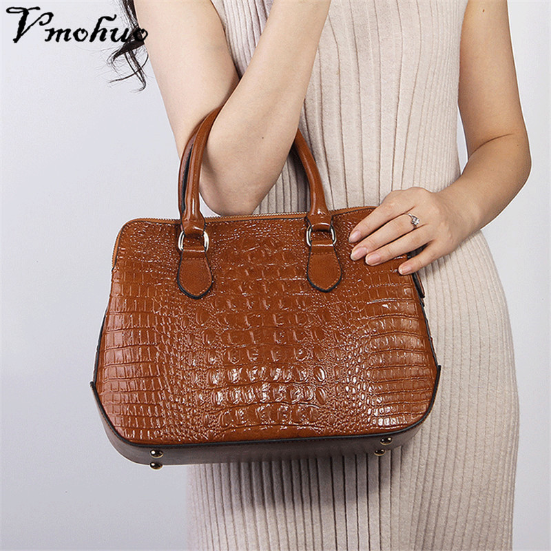VMOHUO Crocodile Pattern Genuine Leather Bag Women Shoulder Messenger Bags Luxury Famous Designer Handbags High Quality Hand bag high quality famous brand designer women shoulder hand bag genuine leather messenger bags luxury handbags for ladies bolsa ly109