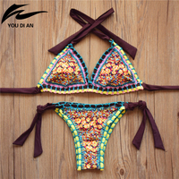 2016 New Handmade Crochet Bikini Set Women Crochet Swimsuit Brazilian Bikini Crochet Swimwear Bathing Suit Fashion