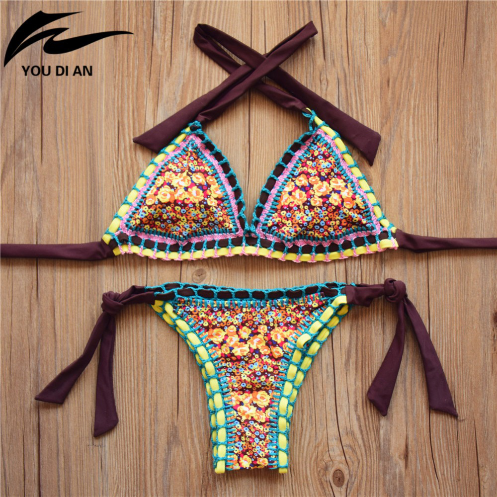 2016 New Handmade Crochet Bikini Set Women Crochet Swimsuit Brazilian Bikini Crochet Swimwear Bathing Suit Biquini B052