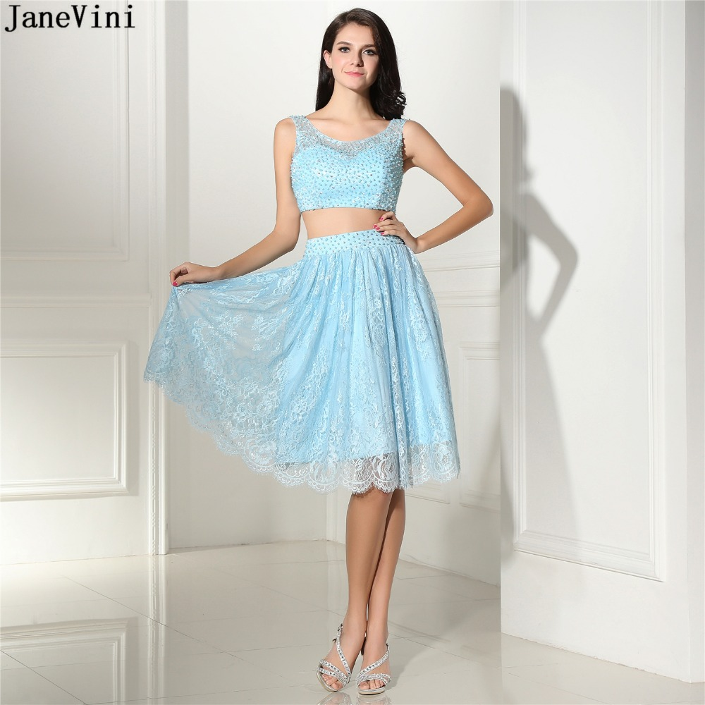 JaneVini Elegant Lace Short   Bridesmaid     Dresses   Scoop Neck Beading Backless A Line Two Pieces Prom   Dress   Women Formal Party Gowns