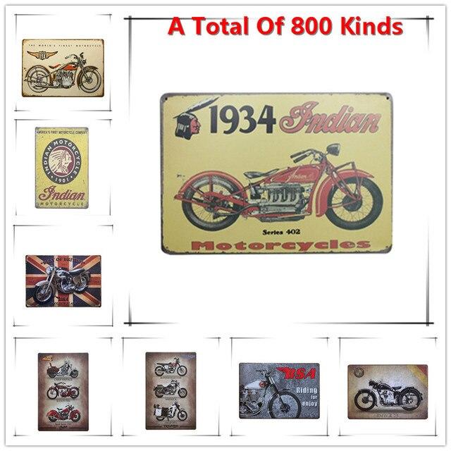 Chic Home Bar 1934 Indian Moto Vintage Metal Signs Decor Tin Pub Decorative Plates Wall Art