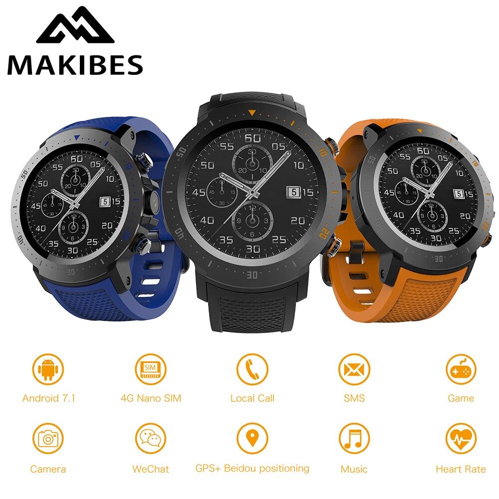 MAKIBES A4 Horloge 4g 530 mah 1 + 16 gb Étanche De Luxe Intelligent Montres Sport GPS Montre Téléphone Podomètre smartwatch Pour MI8 IOS Android