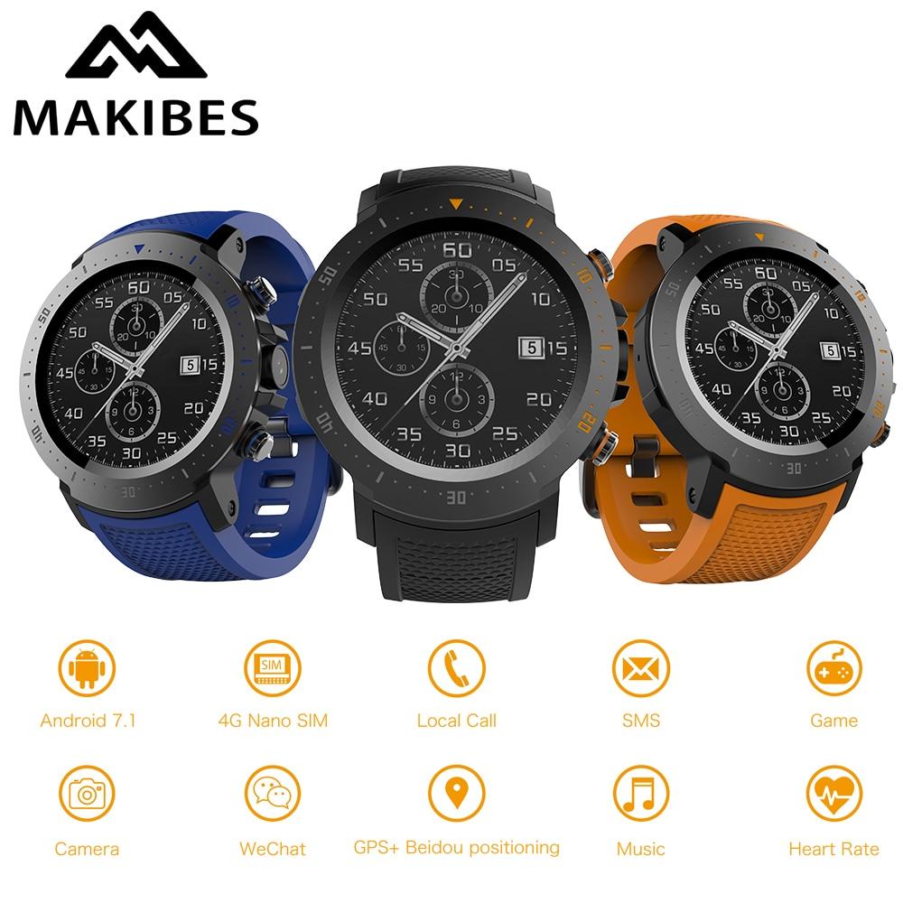 MAKIBES A4 Orologio 4g 530 mah 1 + 16 gb Impermeabile di Lusso Orologi Smart di Sport Della Vigilanza di GPS Del Telefono Pedometro Smartwatch per MI8 IOS Android