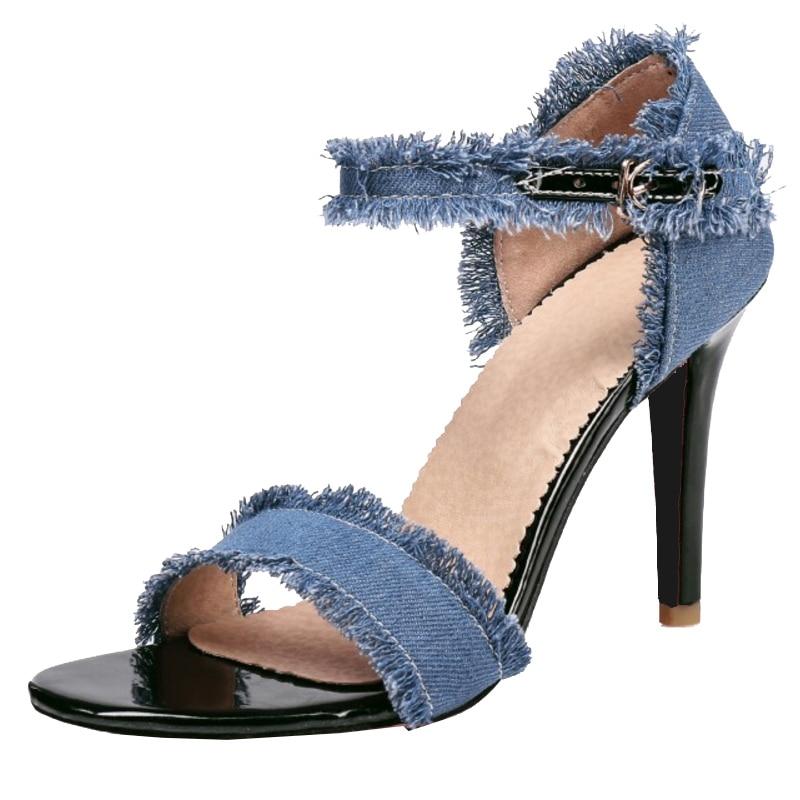 Cm Sjjh Casual Talons 10 Sandales pu Et Ouvert bleu Taille Élégante Chaussures Grande Denim Haute Ciel Bout À Stiletto Partie Noir A006 Mode Femme CPwCxr7z