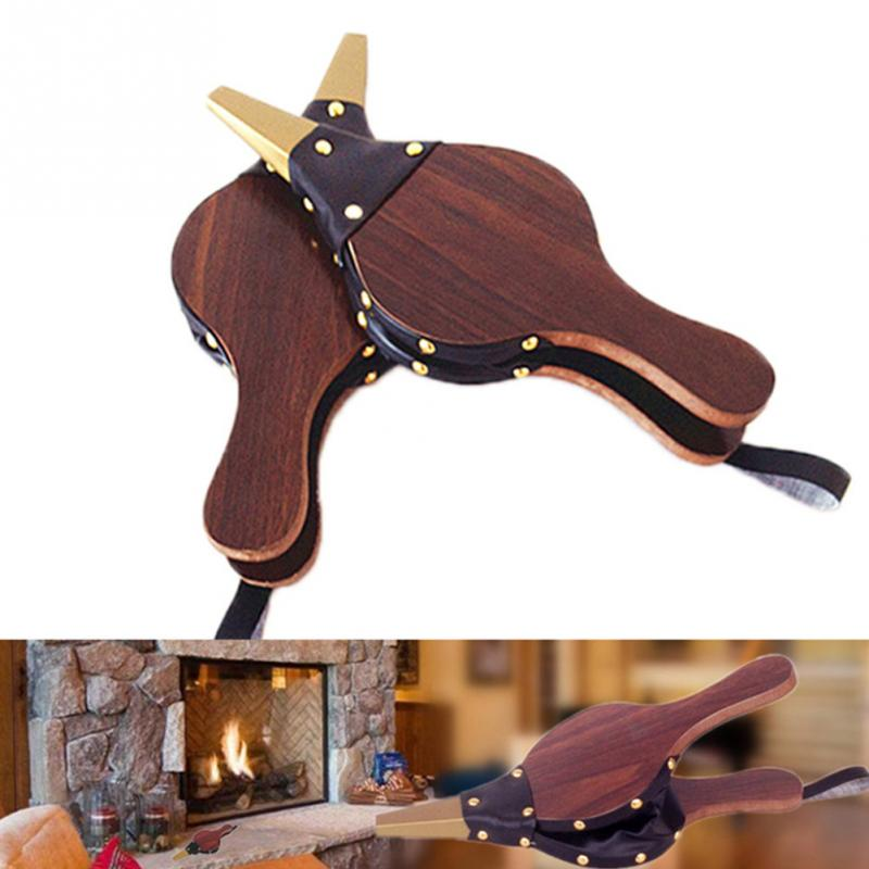 Vintage Wooden Mini Hand Bellows Dark Brown Fireplace Blower Traditional Stove Fire Lighter Fan For Home DIY Fireside Accessory