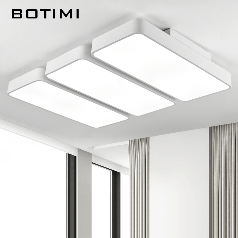 BOTIMI Modern LED Ceiling Lights White Living Room Lamps lamparas de techo Metal Rectangal Home Light Iron Lighting Fixtures modern led acrylic flush mount ceiling lamp living room bedroom lighting lamparas de techo study room lamps free shipping