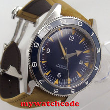 ФОТО 41mm debert blue sterile sandwich dial miyota leather automatic mens watch 86b