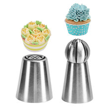 2pc Tulip Flower Stainless Steel Russian Nozzle Ball  Icing Piping Pastry Tips Tube Cake Cream Decorating Tools Molds