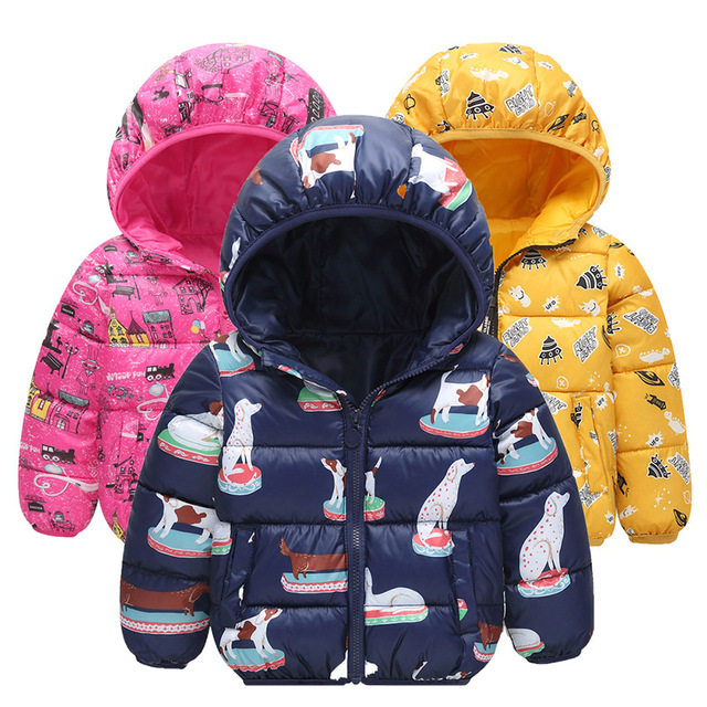 Baby Boys Girls Autumn Winter Light Down Coat Children Warm Thicken Hooded Jacket Kids Cartoon Print Clothing Coat 2-6 Years old