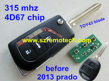 Before 2013 year  With TOY43 Blade 315 MHZ with 4D67 chip 3 Button Remote Control Key Fit For Toyota Prado,Alphard, Land Cruiser